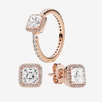 Wholesale elegant gold wedding rings resale online - Square CZ diamond elegant RING and EARRING set Rose gold for Pandora Real Silver Wedding Rings Stud Earring with Original box