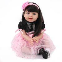 ingrosso belle bambole rosa-Reborn Baby Doll Girl Princess Pink Dress Bella ragazza Boneca 22 pollici Capelli lunghi Silicone morbido Kids Playmate Christmas