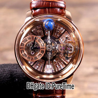 ingrosso diamanti baguette-Nuova Astronomia Tourbillon Baguette Rosa Oro Argento scheletro Dial Diamond Leather svizzero al quarzo Mens Watch Brown Strap Orologi Puretime JC-07