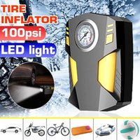 Wholesale inflatable tire pump car resale online - 150W PSI Car Tire Inflatable Pump With LED illumination Auto Air Compressor for Car Wheel Tires Electric DC V Tyre Inflator