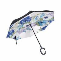 Wholesale black fish hooks for sale - Group buy C Hook Reverse Umbrella Elegant Style Watercolor Flowers Printed Women Umbrella Drop Shipping Double Layer Windproof Paraguas