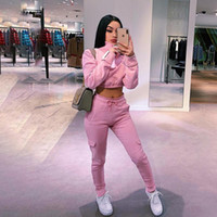 Wholesale winter clothes for maternity women for sale - Group buy GXQIL Piece Gym Clothing Dry Fit Jogging Suit Femme Pink Sportswear Woman Gym Autumn Winter Running Tracksuit for Women