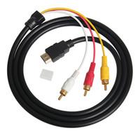 av hdmi führen großhandel-5FT 1,5 Mt 1080 P HDTV HDMI Stecker auf 3 Cinch Stecker Audio Video AV Kabel Adapter Konverter Stecker Komponente Kabel Kabel