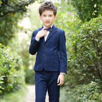 cor do smoking azul cinza venda por atacado-2019 menino terno vestido 4 peças / set menino vestido de calças formal do partido jaqueta Bow Tie colete terno