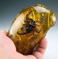 Wholesale natural 14k diamond resale online - Oriental Vintage Handwork Natural Amber Scorpion Statue
