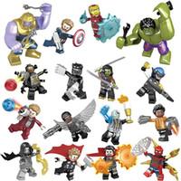 hulk blok setleri toptan satış-Marvel yapı taşları Setleri 16 adet / grup Avengers Infinity Savaş Minifig Süper Kahraman Thor Hulk Kaptan Amerika Rakamlar Yapı Taşları Oyuncaklar