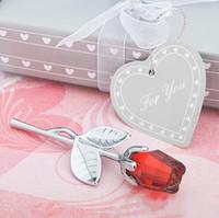 сувенир с кристаллами для детей оптовых-6 дизайнов Crystal Rose Сувениры для вечеринок с красочной коробочкой Романтические свадебные подарки Baby Shower Сувенирные украшения для гостей