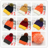 Wholesale color fedora resale online - Fleeced Women Winter Beanies Knit Color Match Pom Ball Skull Caps Warm Knitting Fleece Polar Hat Bonnets Crochet Ski Sport Snow Hats C91808