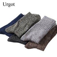 harajuku yüksek çoraplar toptan satış-Urgot 5 Pairs erkek Thicked Pamuk Çorap Özel Kış Sıcak Çorap Yüksek Kalite Kış Erkek Harajuku Retro Sıcak Yün Elbise çorap