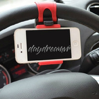 Wholesale iphone steering online – Car Steering Wheel Mobile silicone Phone Holder Stand Bracket for iPhone X XR XS samsung with retail package