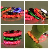 Wholesale led collar cat small dog resale online - LED Dog Camouflage Collar Night Safety Flashing Glow Pet Dog Cat Collar Glow In The Dark Luminous Dogs Supplies LJJA3571