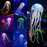 decorações do tanque de peixes das medusa venda por atacado-Aquário Artificial Glowing Medusa Ornamento Do Aquário Decorações para Decoração Fluorescente Tanque de Peixes com Efeito De Incandescência Realista