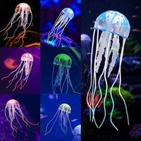Wholesale glowing jellyfish ornaments resale online - Aquarium Artificial Glowing Jellyfish Aquarium Ornament Decorations for Fish Tank Fluorescent Decoration with Realistic Glowing Effect