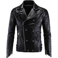 новый мульти-куртка на молнии оптовых-Бутик панк кожаная куртка мужчины новый череп мотоцикл кожаная куртка Multi молнии Slim Fit мужская кожаная куртка Pu одежда M-5xl SH190706