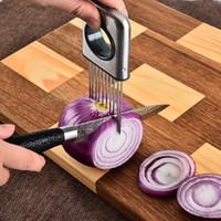 ingrosso utensili per affettare verdure-Facile Holder Cipolla Affettatrice creativa vegetale metallo Slicing Strumenti pomodoro Cutter in acciaio inox casa cucina gadget TTA2075