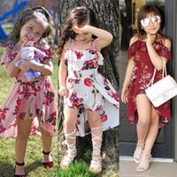 chica de playa 12 años al por mayor-Summer Sling Floral Dress Girl Princess Elegant Ruffles Irregular Culotte Dresses Beach Child Girls Clothes 3 4 6 7 8 10 12 Year L