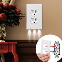 bujileri toptan satış-Fiş Kapak LED Gece Lambası PIR Vücut Hareket Sensörü Aktif Işık Melek Duvar Outlet Yüz Koridor Yatak Odası Banyo Güvenlik Işık