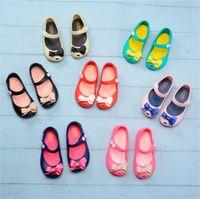 zapato del agujero de la jalea al por mayor-Kids Mini Melissa Designer Shoes Sandalias antideslizantes de dibujos animados Soft Brethable Holes Shoes Jelly Rainbow Sandals Girls zapatos impermeables A61301