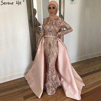 вечерние платья из персиковой русалки оптовых-Dubai Peach Luxury Русалка Винтажное вечернее платье с пайетками с длинными рукавами и шлейфом Вечерние платья 2019 Serene Hill LA6613
