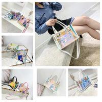 nouveaux sacs harajuku achat en gros de-Nouveau 5 couleur Transparent holographique laser sac femme gelée unique sac à bandoulière mode harajuku fourre-tout lady Sacs de plage Sacs de rangement T2D5031
