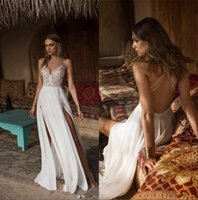 Wholesale wedding dresses plus sides resale online - 2019 Sexy Lace Appliqued Bohemian Wedding Dresses Spaghetti Open Back High Side Split Beach Boho Country Bridal Gown