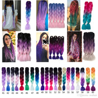 Wholesale wholesale ombre braiding hair online - 24 g pc Synthetic Ombre Kanekalon Braiding Hair Crochet Box Braids Hairstyles Hair Extensions Silver Gray Black