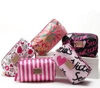 Wholesale cosmetic barrel bag resale online - High Quality Brand Women s Lady Makeup Bags Cosmetic Bag Handbag Makeup Organizer spring printing bags for women