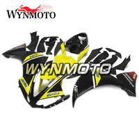 ingrosso yamaha yzf r1 giallo impermeabilizzazione-Carenatura per motocicli giallo brillante nero lucido per Yamaha YZF 1000 R1 2009 2010 2011 Copri coprimozzo per moto in plastica ABS per motocicli