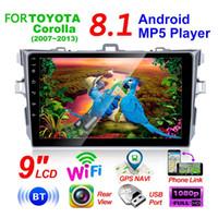 bmw e39 dvd gps bluetooth al por mayor-9 pulgadas Android 8.1 2 DIN 2.5D radio de la navegación del coche de cristal Reproductor multimedia GPS Wifi Bluetooth para Corolla 2007-2013 dvd coche