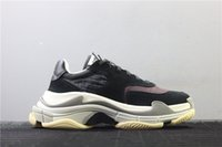 Wholesale brands chocolate resale online - High Quality Retro Brand Men Casual Shoes Grain Leather Shoes Black And Grey Triple S Sneaker Dad shoe fashion Casual outdoor