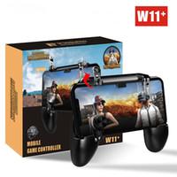 kontrolör veroid oyunları toptan satış-W11 + PUBG Cep Gamepad Joystick Metalen L1 R1 Tetik Oyunu Shooter Denetleyici iPhone Android telefon için Oyun Gamepad