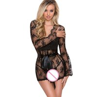 lingerie élégante achat en gros de-Bar élégant 2019 Courbe Sexy Mesh Nighty Lingerie Vêtements de Nuit Femmes Dentelle G-string Lingerie Vêtements de Nuit Sous-Vêtements Robe # 0523