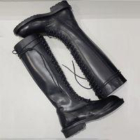 botas de cuero sobre la rodilla venta al por mayor-Nueva venta caliente Zapatos de moda Botas de mujer Botas de cuero sobre la rodilla Martin Skinny Knight Boots Estilo occidental tamaño 35-40