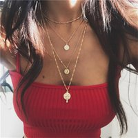 Wholesale plastic crosses for jewelry resale online - 18 styles Bohemian Multilayer Rose Cross Pendant Necklace for Women Vintage Gold Color Party Charms Choker Necklace Collar Jewelry Gi ALXY04