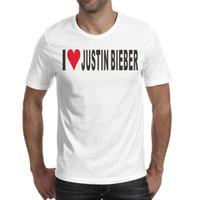sticker coeur orange achat en gros de-Mens design impression j'aime Justin Bieber autocollants coeur blanc conception t-shirt maillot de corps cool amis fous chemises t-shirt génial cotto