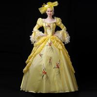 vestido de bola amarilla belle al por mayor-Nueva llegada 2018 otoño invierno amarillo flare manga discoteca fiesta vestido Medieval Southern Belle vestidos de bola para la muchacha personalizada