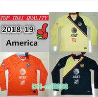 майский футбол майки оптовых-Топ тайский качество 2018 19 Мексика лига MX Клуб Америка с длинным рукавом футбол трикотажные изделия 3-й оранжевый P Агилар O Перальта #24 Уильям футбол рубашка
