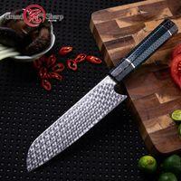 facas de estilo japonês venda por atacado-6.5 '' Handmade Damasco Santoku Faca de 110 Camadas De Aço Damasco Prémio Facas De Cozinha Estilo Japonês Faca Caixa De Presente Grandsharp