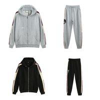 zip up hoodies für frauen großhandel-19ss Italien Designer Fashion Brands New HOODED ZIP-UP SWEATSHIRT MIT logo STRIPE Männer Hoodies Frauen Sweatshirts Mann Kleidung g77