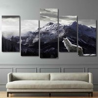 ingrosso arredamento di montagna-HD Prints Canvas Wall Art Living Room Home Decor Immagini 5 pezzi Snow Mountain Plateau Wolf Paintings Poster Animal Poster