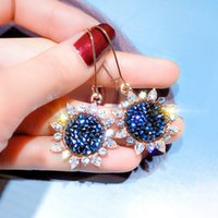 Wholesale elegant valentine party gifts for sale - Group buy Fashion Crystal Fancy Sunflower Pin Drop Earrings For Women Jewelry Elegant Valentine Day Gift Bohemia Earring Bijoux O3e708