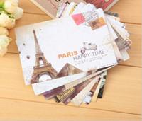 tarjetas de visita del paisaje al por mayor-Fabricante postal al por mayor Creativo retro Europa y América torre paisaje tarjeta de negocios campus tarjeta de regalo personalizada