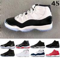 roter weißer abschlussballkleid großhandel-Nike air jordan 11 11s Prom Night Cap und Kleid Concord 45 gezüchtet Männer Frauen Basketball Schuhe Sneaker Gym rot Midnight Navy gamma blau Sportschuhe