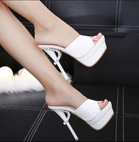 Wholesale diamond open dress shoes for sale - Group buy 2020 Women Slippers Shoes Thin Heel Ultra High Heels CM Nightclub Diamond Sexy Open Toe Sandals Shoes Slipper Female Shoes