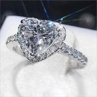 weißgold herz ring diamanten großhandel-Neues Art und Weiseluxusweißgold überzog CZ-Diamantringliebesherzformsüße Tendenzqualitäts-Dameschmucksachen freies Verschiffen