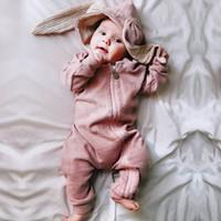 mamelucos del conejito bebé al por mayor-Bebé recién nacido bebé niña niño ropa linda conejito 3D oreja mameluco mono traje otoño invierno cálido Bebes mamelucos de una pieza