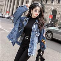 jaquetas de couro para mulheres venda por atacado-2019 couro Primavera Outono colheita Denim Jackets Mulheres Casual Jeans Bomber Jacket Brasão Plus Size Long Sleeve Denim