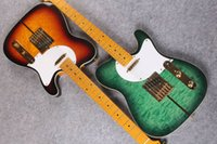 edredón acolchado al por mayor-Guitarra personalizada Merle Haggard Tuff Dog Tele Green Sunburst Quilt Top Guitarra eléctrica Green Burst Acolchado Maple Top Guitarras de China
