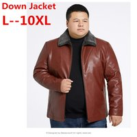 ingrosso grande cappotto di pelliccia-10XL 9XL 8XL 6X Giubbotto in pelle da uomo 2018 inverno cappuccio spessa staccabile caldo impermeabile grande collo di pelliccia di procione per -30 gradi