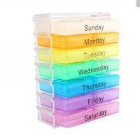 ilaç saklama kutusu toptan satış-Taşınabilir Tıp Haftalık Depolama Hap 7 Gün Tablet Sıralayıcısı Kutusu Konteyner Kasa Organizatör Sağlık MMA1247